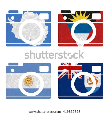 Nation Flag. Film strip recycled paper on white background. ( Anguilla , Antarctica , Antigua and Barbuda , Argentina ) - stock photo