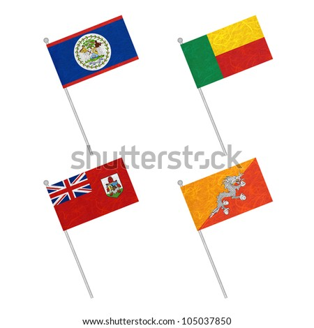 Nation Flag. Flag pole recycled paper on white background. ( Belize , Benin , Bermuda , Bhutan )