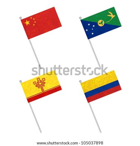 Nation Flag. Flag pole recycled paper on white background. ( China , Christmas Island , Chuvashia , Colombia ) - stock photo