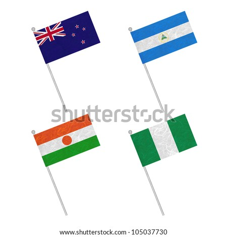 Nation Flag. Flag pole recycled paper on white background. ( New Zealand , Nicaragua , Niger , Nigeria )
