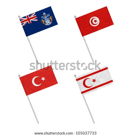 Nation Flag. Flag pole recycled paper on white background. ( Tristan da Cunha , Tunisia , Turkey , Turkish Republic of Northern Cyprus )