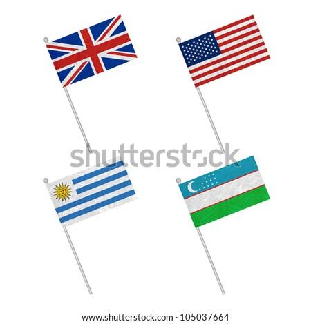 Nation Flag. Flag pole recycled paper on white background. ( United Kingdom , United States of America , Uruguay , Uzbekistan ) - stock photo