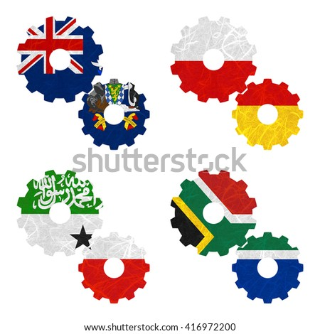 Nation Flag. Gear recycled paper on white background. ( Somaliland , South Africa , South Georgia and the South Sandwich Islands , South Ossetia ) - stock photo