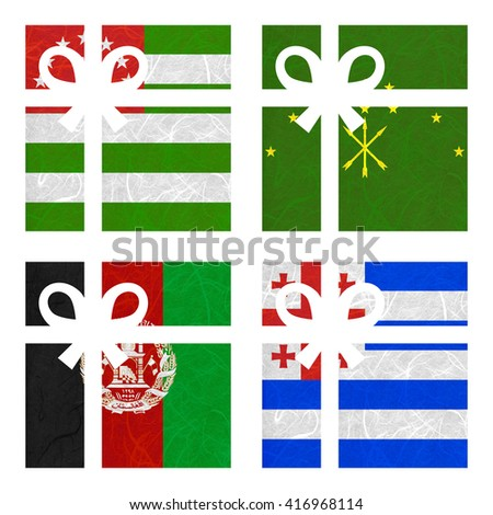 Nation Flag. Gift-box recycled paper on white background. ( Abkhazia , Adygea , Afghanistan , Ajaria ) - stock photo