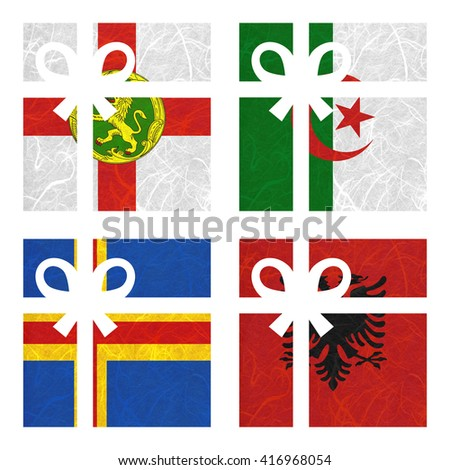 Nation Flag. Gift-box recycled paper on white background. ( Aland , Albania , Alderney , Algeria ) - stock photo