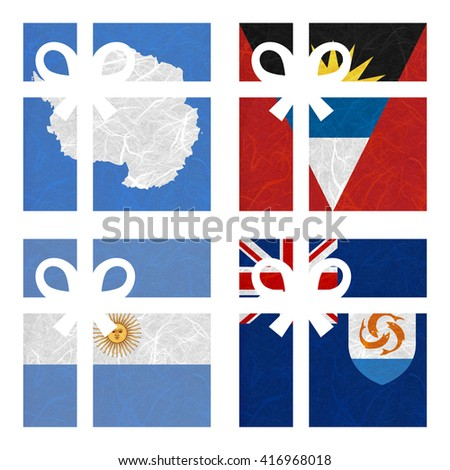 Nation Flag. Gift-box recycled paper on white background. ( Anguilla , Antarctica , Antigua and Barbuda , Argentina ) - stock photo