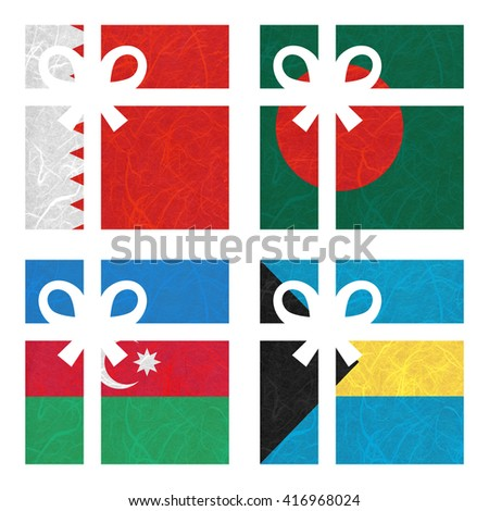 Nation Flag. Gift-box recycled paper on white background. ( Azerbaijan , Bahamas , Bahrain , Bangladesh ) - stock photo