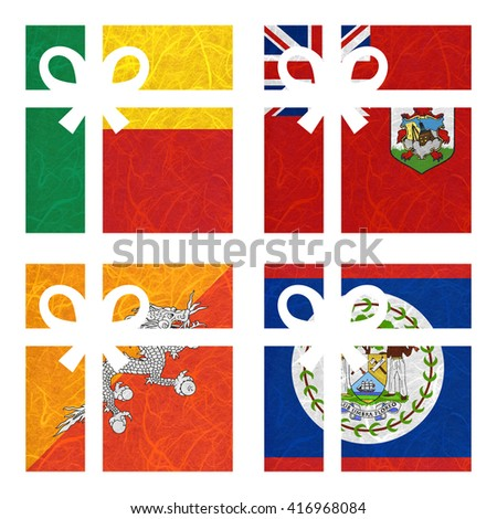 Nation Flag. Gift-box recycled paper on white background. ( Belize , Benin , Bermuda , Bhutan ) - stock photo