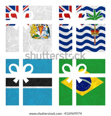 Nation Flag. Gift-box recycled paper on white background.  ( Botswana , Brazil , British Antarctic Territory , British Indian Ocean Territory ) - stock photo
