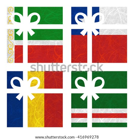 Nation Flag. Gift-box recycled paper on white background. ( Chad , Chechen Republic of Ichkeria , Chechen Republic , Chile ) - stock photo