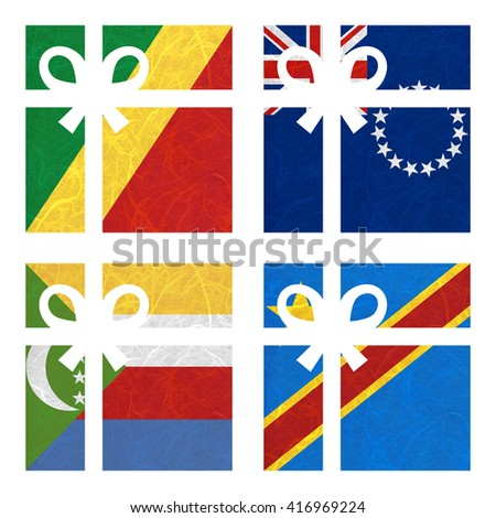 Nation Flag. Gift-box recycled paper on white background. ( Comoros , Congo Democratic Republic , Congo Republic , Cook Islands) - stock photo