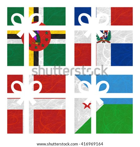 Nation Flag. Gift-box recycled paper on white background. ( Denmark , Djibouti , Dominica , Dominican Republic ) - stock photo