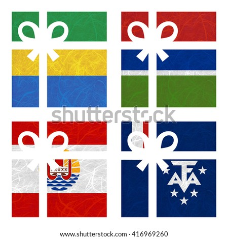 Nation Flag. Gift-box recycled paper on white background. ( French Polynesia , French Southern and Antarctic Lands , Gabon , Gambia ) - stock photo