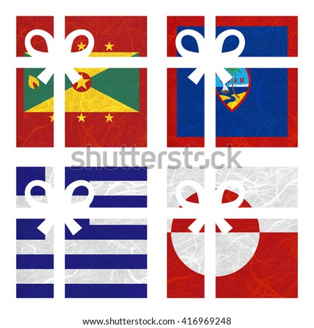 Nation Flag. Gift-box recycled paper on white background. ( Greece , Greenland , Grenada , Guam )
