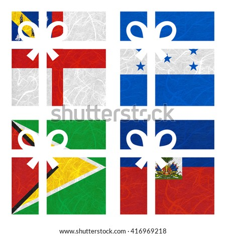 Nation Flag. Gift-box recycled paper on white background. ( Guyana , Haiti , Herm , Honduras ) - stock photo