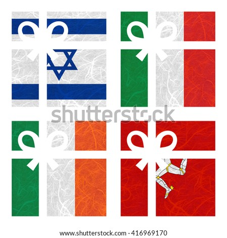 Nation Flag. Gift-box recycled paper on white background. ( Ireland , Isle of Man , Israel , Italy ) - stock photo