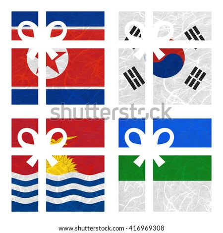 Nation Flag. Gift-box recycled paper on white background. ( Kiribati , Komi , Korea North , Korea South ) - stock photo