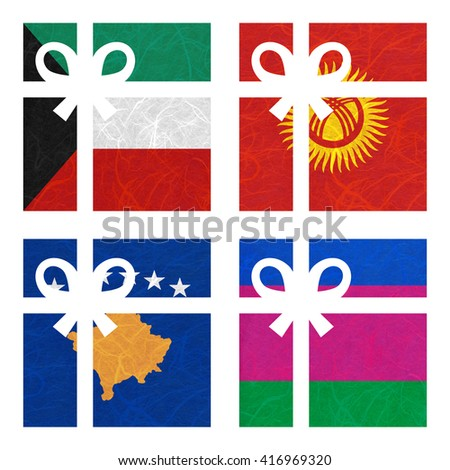 Nation Flag. Gift-box recycled paper on white background. ( Kosovo, Kuban Peoples Republic , Kuwait , Kyrgyztan ) - stock photo