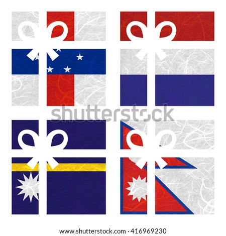 Nation Flag. Gift-box recycled paper on white background. ( Nauru , Nepal , Netherlands Antilles , Netherlands ) - stock photo