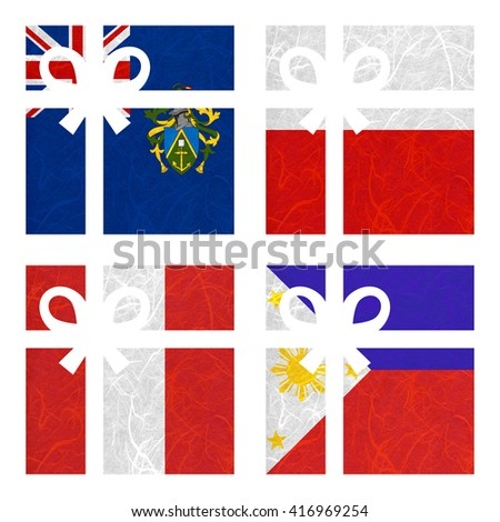 Nation Flag. Gift-box recycled paper on white background. ( Peru , Philippines , Pitcairn Islands , Poland ) - stock photo