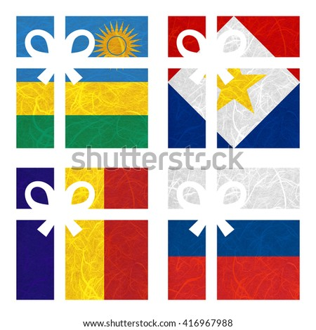 Nation Flag. Gift-box recycled paper on white background. ( Romania , Russia , Rwanda , Saba ) - stock photo