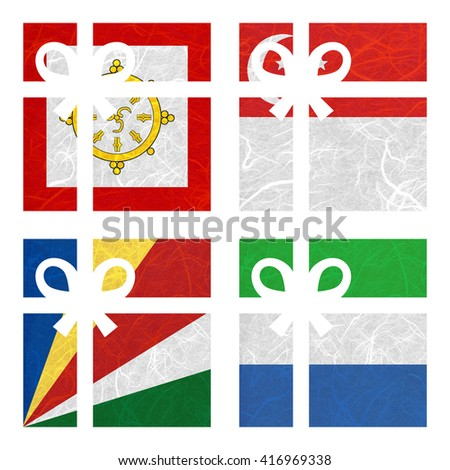 Nation Flag. Gift-box recycled paper on white background. ( Seychelles , Sierra Leone , Sikkim , Singapore ) - stock photo