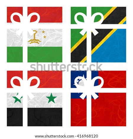 Nation Flag. Gift-box recycled paper on white background. ( Syria , Taiwan, Tajikistan , Tanzania) - stock photo
