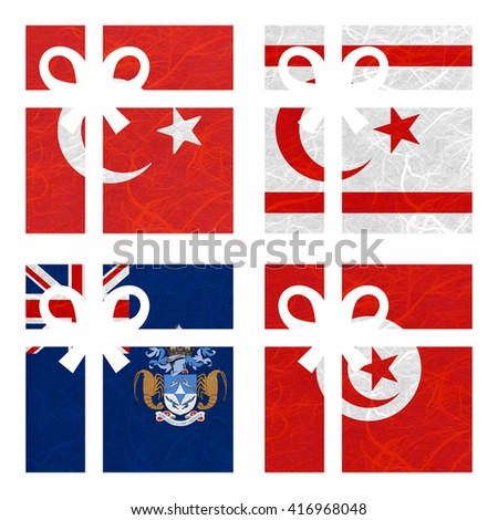 Nation Flag. Gift-box recycled paper on white background. ( Tristan da Cunha , Tunisia , Turkey , Turkish Republic of Northern Cyprus ) - stock photo
