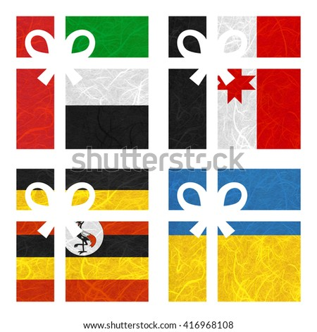 Nation Flag. Gift-box recycled paper on white background. ( Udmurtia , Uganda , Ukraine , United Arab Emirates ) - stock photo