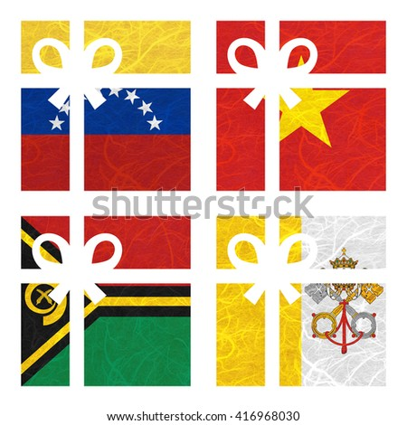 Nation Flag. Gift-box recycled paper on white background. ( Vanuatu , Vatican City State , Venezuela , Vietnam ) - stock photo