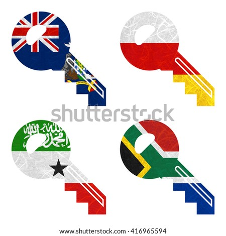Nation Flag. Key recycled paper on white background. ( Somaliland , South Africa , South Georgia and the South Sandwich Islands , South Ossetia ) - stock photo