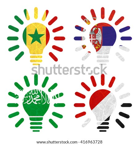 Nation Flag. Light bulb recycled paper on white background. ( Saudi Arabia , Sealand Principality , Senegal , Serbia ) - stock photo