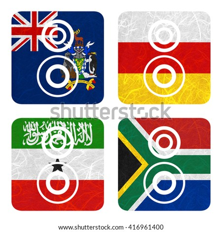 Nation Flag. Loudspeaker recycled paper on white background. ( Somaliland , South Africa , South Georgia and the South Sandwich Islands , South Ossetia ) - stock photo