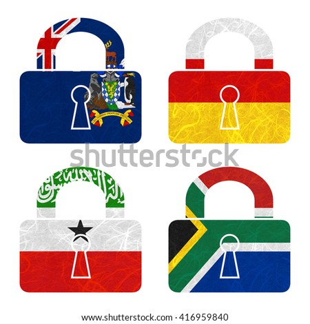 Nation Flag. Master-key recycled paper on white background. ( Somaliland , South Africa , South Georgia and the South Sandwich Islands , South Ossetia ) - stock photo