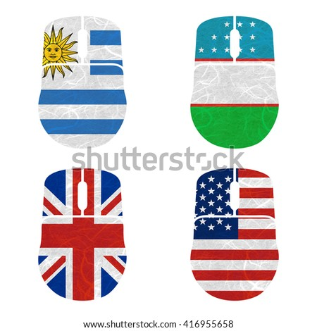 Nation Flag. Mouse recycled paper on white background. ( United Kingdom , United States of America , Uruguay , Uzbekistan )