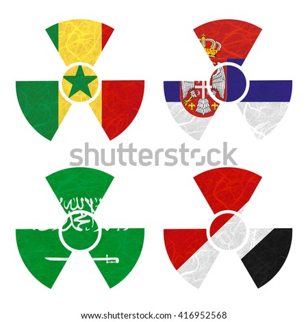 Nation Flag. Nuclear recycled paper on white background. ( Saudi Arabia , Sealand Principality , Senegal , Serbia )
