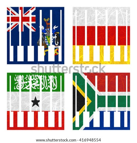 Nation Flag. Piano recycled paper on white background. ( Somaliland , South Africa , South Georgia and the South Sandwich Islands , South Ossetia ) - stock photo