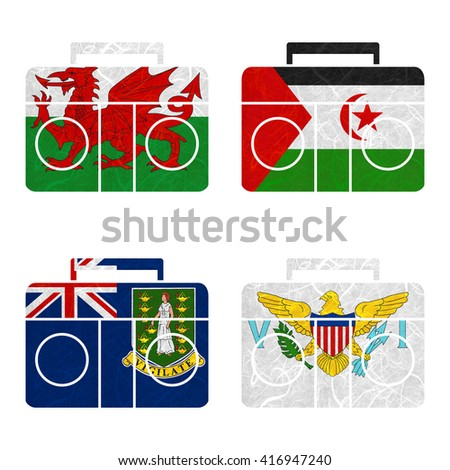 Nation Flag. Radio recycled paper on white background. ( Virgin Islands - UK , Virgin Islands - US , Wales , Western Sahara )