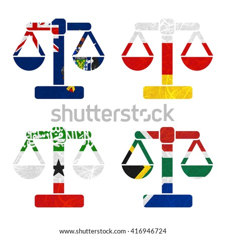 Nation Flag. Scales recycled paper on white background. ( Somaliland , South Africa , South Georgia and the South Sandwich Islands , South Ossetia ) - stock photo