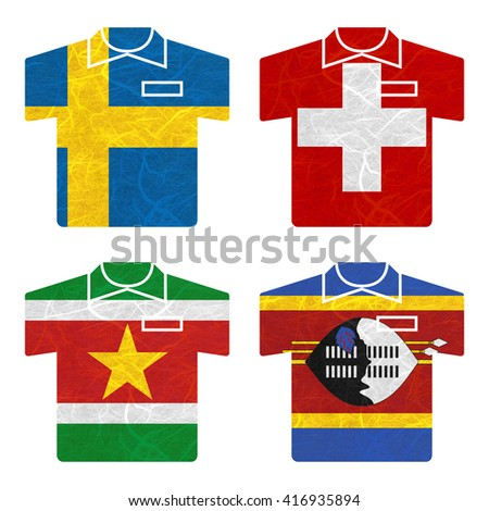 Nation Flag. Shirt recycled paper on white background. ( Suriname , Swaziland , Sweden , Switzerland )