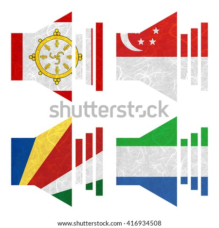 Nation Flag. Sound recycled paper on white background. ( Seychelles , Sierra Leone , Sikkim , Singapore )