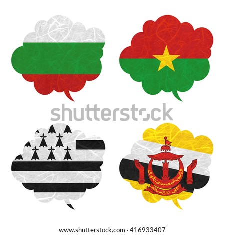 Nation Flag. Speech-balloons recycled paper on white background. ( Brittany , Brunei Darussalam , Bulgaria , Burkina Faso )