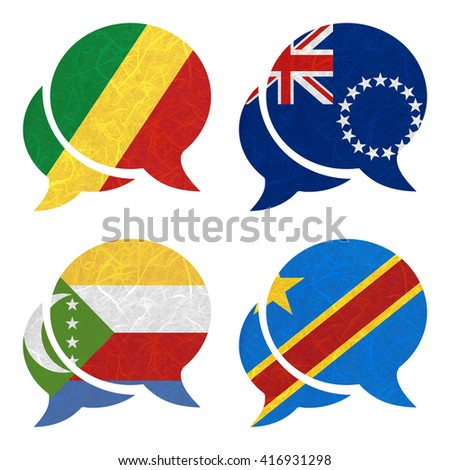 Nation Flag. Speech-balloons recycled paper on white background. ( Comoros , Congo Democratic Republic , Congo Republic , Cook Islands)