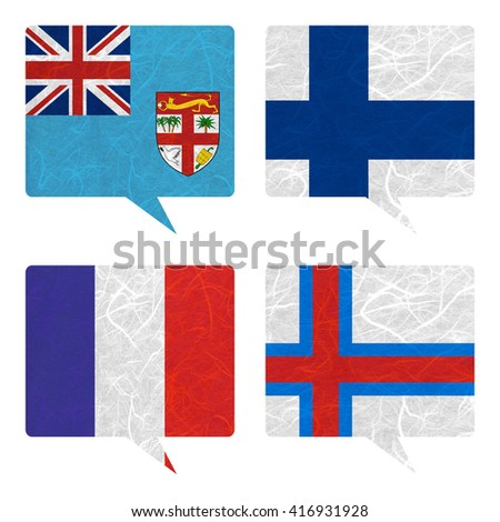 Nation Flag. Speech-balloons recycled paper on white background. ( Faroe Islands , Fiji , Finland , France )