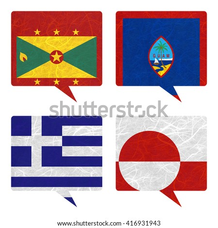 Nation Flag. Speech-balloons recycled paper on white background. ( Greece , Greenland , Grenada , Guam )