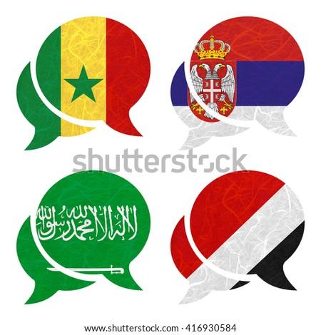 Nation Flag. Speech-balloons recycled paper on white background. ( Saudi Arabia , Sealand Principality , Senegal , Serbia ) - stock photo