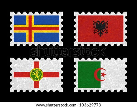 Nation Flag. Stamp recycled paper on white background. ( Aland , Albania , Alderney , Algeria )