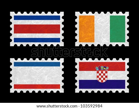 Nation Flag. Stamp recycled paper on white background. ( CostaRica, Cote dlvoire , Crimea , Croatia ) - stock photo