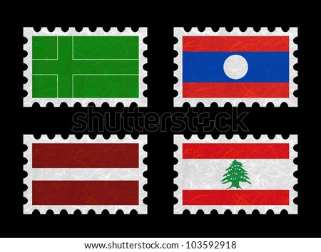 Nation Flag. Stamp recycled paper on white background. ( Ladonia , Laos , Latvia , Lebanon )