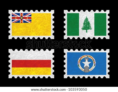 Nation Flag. Stamp recycled paper on white background. ( Niue , Norfolk Island , North Ossetia , Northern Mariana Islands )